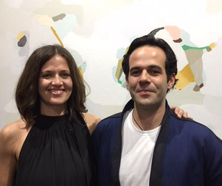 Artist Jen Wink with Art Bastion gallery owner Sebastiano Varoli at the opening of her show Vacationland. On view until May 27 (2085 NW end Ave.).