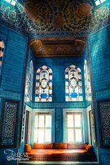 Blue Mosaic (Zahraa H. Salih) Tags: travel blue light turkey lights mosaic places istanbul mosque beam rays moasques