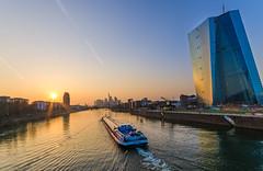 Frankfurt (Main) (Stefan Skalla) Tags: sunset skyline germany deutschland boat europe sonnenuntergang frankfurt main schiff mainriver europeancentralbank europischezentralbank binnenschiff