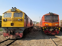 SRT GE 4525 keeps company with repowered Alsthom 4129. Bang Sue TMD (Barang Shkoot) Tags: electric train cat thailand general diesel bangkok engine loco coco depot locomotive ge alstom 4129 srt rsr 4525 alsthom rotfai