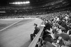 Great Seats (peterkelly) Tags: blue bw toronto ontario canada hat digital audience baseball crowd police diamond cop skydome bluejays northamerica fans jays frontrow policeman mlb rogerscentre