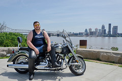 Joey and Motorcycle-4x6-9315 (Mike WMB) Tags: leather cub boots yamaha vest chaps