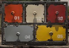 Mondrian's files (hutchphotography2020) Tags: color nikon rust drawer knobs mondrian peeledpaint