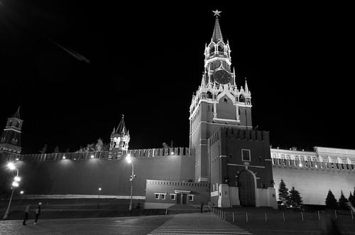 Kremlin clock tower at night ©  Still ePsiLoN