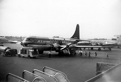 Chicago Midway Airport - Northwest Airlines - Boeing 377 (Stratocruiser) (twa1049g) Tags: 1954 midway stratocruiser boeing377 n74602