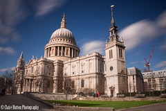 (Claire Hutton) Tags: city uk longexposure blue england sky people urban motion blur building london church architecture daylight cathedral britain le dome gb daytime wren stpaulscathedral csc ndfilter 10stop nd110 bw110 sonynex5r