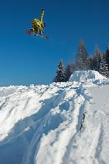 Indy (BartoszJania) Tags: blue sky sun snow mountains snowboarding frozen jump nikon freestyle d70 d70s indy poland polska sunny freeze snowboard tatry burton tatra zakopane