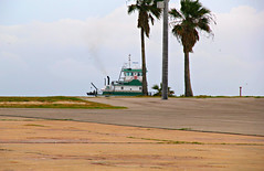 Tugboat with no water (West Beach Sunset) Tags: canon eos boat texas smoke palmtrees tugboat eos60d picmonkey