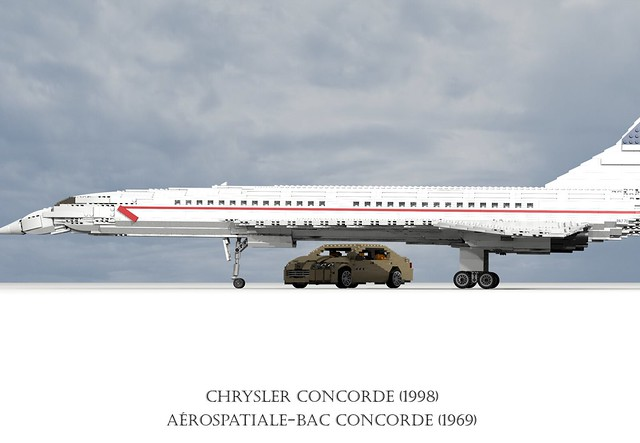 auto usa france 1969 car america plane airplane model lego render aircraft sonic aeroplane boom airline concorde sound barrier british passenger ba chrysler airways amc challenge fwd airliner lhs cad 79 lugnuts bac povray supersonic moc ldd aeronautical miniland aérospatiale anglofrench lego911 lugnutsgoeswingnuts