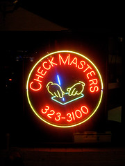 Check Master Blaster Ghettonomics (thOs One aka thosalumpagus) Tags: seattle light pen check hands neon signage mickeymouse masters ghettonomics