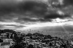 Rays of light (morozgrafix) Tags: sanfrancisco california light blackandwhite bw fog clouds unitedstates cloudy dramatic rays hdr raysoflight nikon2470mmf28g nikond7000
