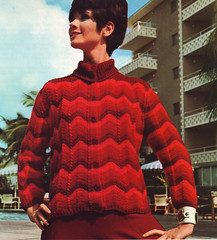Bear Knit 68 red cardigan (jsbuttons) Tags: red sweater clothing knitting buttons stripes knit handknit womens 1968 knitted cardigan sixties 68 vintagefashion buttonfront