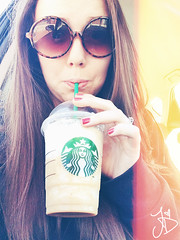 Typical (Jessica DiPaola) Tags: coffee girl sunglasses hair long ring nails starbucks typical iphone selfie 5s