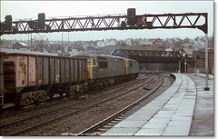 56038 'Western Mail' and 56044  Newport  February 26th 1982 b (Bristol RE) Tags: grid newport 56 westernmail class56 56044 56038