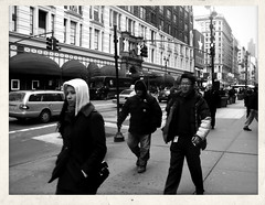 Against The Wind (Robert S. Photography) Tags: street nyc winter people bw monochrome nikon manhattan scene midtown coolpix s3300