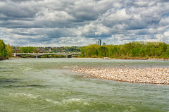 146/365 - Bow River HDR (Keeperofthezoo) Tags: bridge trees canada calgary nature water beautiful clouds river landscape outside outdoors 50mm scenery scenic overcast stormy alberta dramaticsky stormysky bowriver stormclouds stormyclouds 14thstreetbridge thebowriver