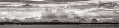 Pumestone Panorama (Matthew Post) Tags: panorama mountains monochrome canon post matthew australia queensland glasshousemountains bribieisland tamron glasshouse 70200 sunshinecoast 6d pumestonepassage