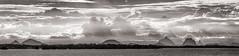 Pumestone Panorama (Matthew Post) Tags: panorama mountains monochrome canon post matthew australia queensland glasshousemountains bribieisland tamron glasshouse 70200 sunshinecoast 6d pumestonepassage
