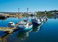 Docked fishing boats Bonavista Newfoundland (Photonguy2009) Tags: blue sea summer sky newfoundland boats harbour atlantic bonavista