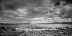 The line between sky and sea (Tomislav C.) Tags: sky panorama white storm black beach clouds landscape scary waves croatia adriatic rijeka sea