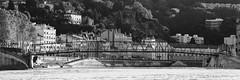 Passerelle de l'Homme de la Roche (SylvainMestre) Tags: bw panorama lyon nb quai passerelle sane hommedelaroche quaidesane