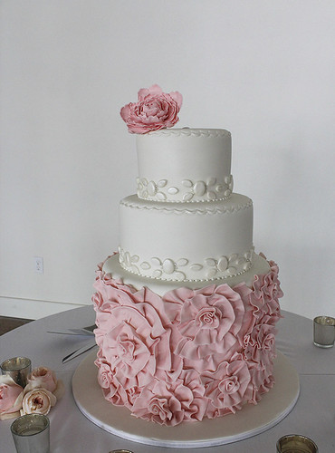 Pink Ruffled Fondant Rosettes Wedding Cake