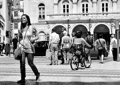 crosswalk - (mgkm photography) Tags: street cidade urban blackandwhite bw black blancoynegro portugal monochrome bicycle 50mm calle nikon europe lisboa lisbon candid streetphotography gimp linux streetphoto rua lissabon nikkor crosswalk pretoebranco blackandwhitephotography rossio streetshot 50mm18 urbanphotography pretobranco monochromephotography fotografiaurbana lisboanarua blackwhitephotos ptbw opensourcephotography ilustrarportugal d7000 europeanphotography streettogs streettogs
