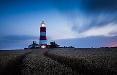 Happisburgh Lighthouse at night (Matthew Dartford) Tags: longexposure light lighthouse house beach clouds seaside movement bright norfolk straw le bluehour leading goldenhour redandwhite happisburgh leadinglines seasidetown
