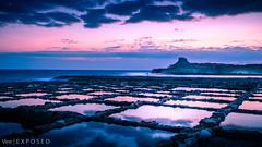Xwejni Salt Pans (StevyVee) Tags: sunrise winter pans reflection fall orange sea saltpans morning blue salt dusk golden dawn malta red longexposure sunset landscape gozo