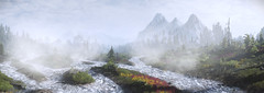 Wild Water (~Scimo~) Tags: thewitcher screenshot landscape mountain fantasy tw3 panorama mist water