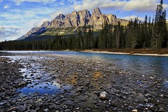 Castle on the Bow (John Andersen (JPAndersen images)) Tags: alberta banff bluehour bowriver cambrian castlemountain fall geology kids mountains outcrop park