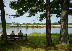 Pond-ering (ajketh) Tags: dl delaware lackawanna alco mlw c636 m630 freight train railroad tobyhanna pa pennsylvania pond shade trees gentlemen watching pondering