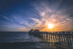 santa monica pier (thatgirlwiththekicks) Tags: santamonica pier sunset sky skyscape clouds pacific ocean shore tide waves orange yellow golden blue california usa america unitedstates