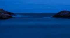 Hesnesbregen (hartvig.johnsen) Tags: lighthouse shore sea night nature longtime norway grimstad olympus blue sunset navigation