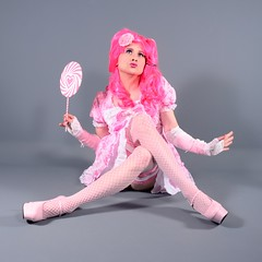 103Q5L (klarissakrass) Tags: costume crossplay crossdress heels stockings pleaser pinkhair pink lolita lolypop