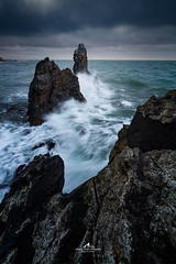 Rage's Rocks (Laurent BASTIDE Photographies) Tags: sky herault sea light storm waves ocean night blast clouds rocks rock water deep blue paris france europe montpellier languedoc languedocroussillon sun beautiful beauty summer winter agde canon sunrise sunset art