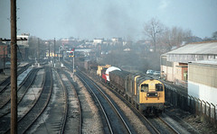 THUNDEROUS DEPARTURE (Malvern Firebrand) Tags: thunderous departure 20198 20166 worcester shrub hill march 1982 mixed freight will be heading for severn tunnel junction class 117 25 metal box worcestershire midland yard track sidings railway railroad diesel uk english electric