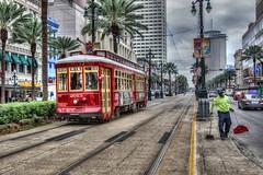 Streetcar and Streetsweeper (D-W-J-S) Tags: canal street new orleans neworleans canalstreet sweep cleaner sweeper car streetcar tram louisiana