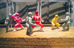 Mighty Morphin Power Rangers - Warehouse Fight (THE AMAZING KIKEMAN) Tags: mighty morphin power rangers red ranger pink yellow putty patrollers jason kimberly trini saban pudgy pig