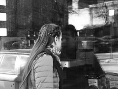 WHAT IS INSIDE? (ARTTVOREC) Tags: girl latvia shop bw blackwhite vintage rhytm depth reflection riga