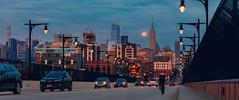 Passage to Metropolis (JimmyKastner) Tags: hoboken newjersey unitedstates us newyorkcity manhattan empirestatebuilding chryslerbuilding cityscape moonscape moon newyork night