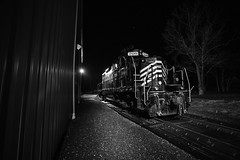 Sleeping Ferroequine (T-3 Photography) Tags: train railroad locomotive virginia canon night nighttime blackandwhite bw 5dmarkii 1740mm wideangle
