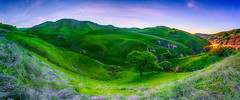 Blue Hour Panorama (stuanderson7) Tags: grass dreamscape landscape nature dawn mountains outdoor clouds countryside morning hills sonya6000 california long exposure panorama endor trees sky green nightscape sunrise vibrant samyang12mmf2 middleearth bluehour cartrails longexposure