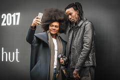 Fashion Week Selfie (jonron239) Tags: man woman boy girl leatherjacket jewellery earrings bodypiercing scarf jeans tights fro braids ring smartphone camera nikon