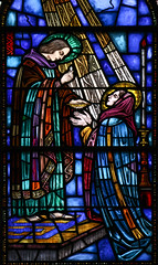 Communion of Our Lady (Lawrence OP) Tags: albany mercy sisters convent stainedglass eucharist holycommunion stjohntheevangelist priest blessedvirginmary ourlady