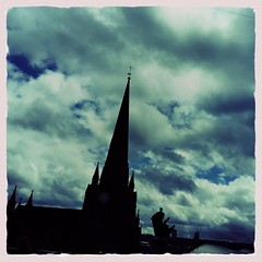 St Martin In The Bull Ring (firstnameunknown) Tags: iphoneography hipstamatic birmingham stmartin stmartininthebullring church gothic neogothic building tower spire architecture city cityscape horizon skyline sky clouds horationelson statue richardwestmacott silhouette