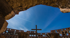The Cross (julesnene) Tags: amphitheater canon7dmark2 canon7dmarkii canonef70200mmf4lusmlens coliseum colosseum flavianamphitheatre italy juliasumangil rome ancient concrete cross destination julesnene monument sand travel roma lazio it holyweek