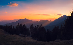 Mountain story (Dejan Hudoletnjak) Tags: sunset landscape mountains colorful sky warm sun sunrays