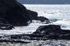cliffs and sea sillouette (LindaaFraser) Tags: polzeath bright sea rocks tide sillouette