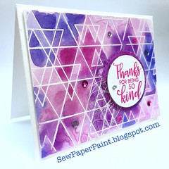 SSS Abstract Triangles Pink Card Side (teamclark@rocketmail.com) Tags: simon says stamp abstract triangles watercolor embossing verve sequins card cardmaking thank you sssflickrchallenge69